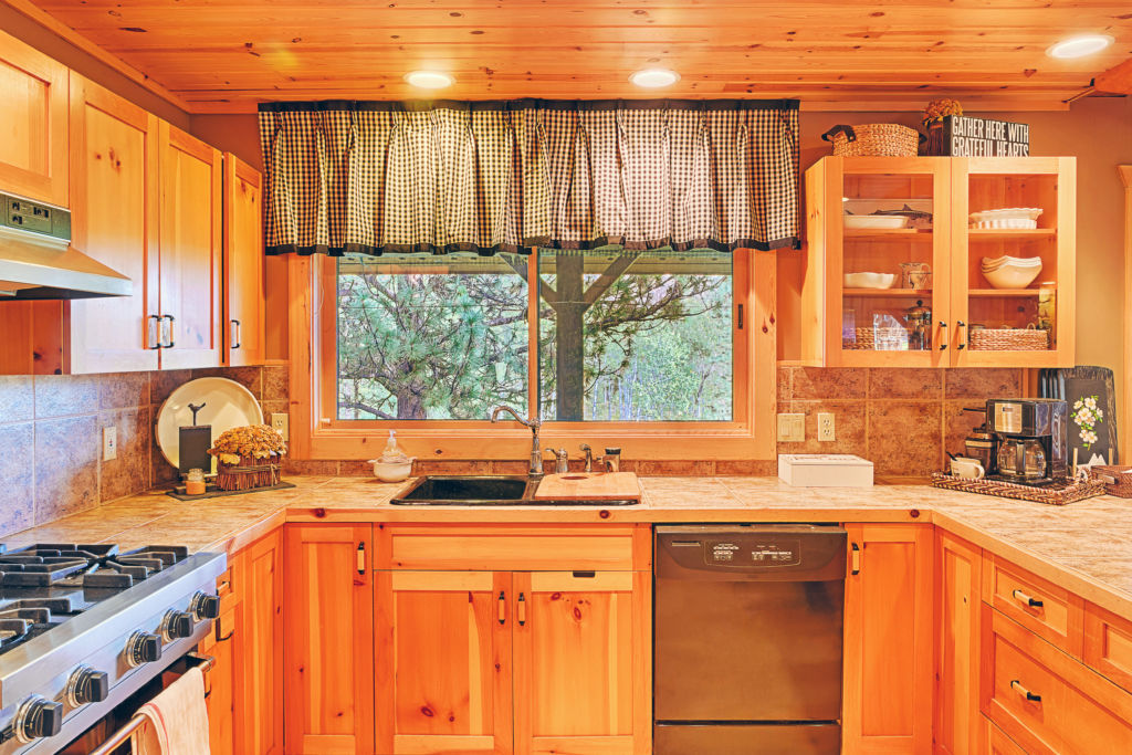 Countertops and cabinets in rustic kitchen