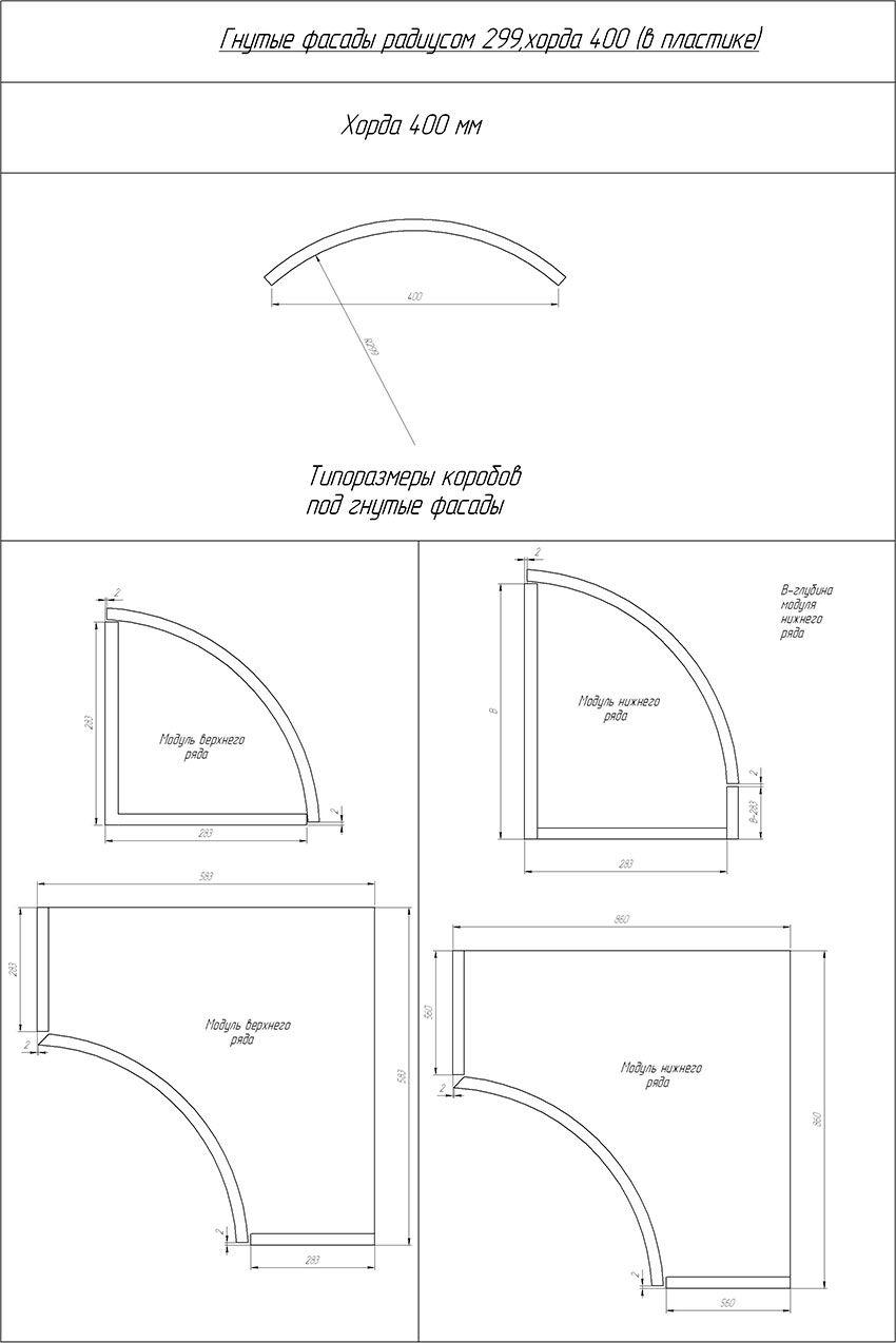 Гнутые фасады 299 радиусом 400 хорда(16 мм) пластик (orig)
